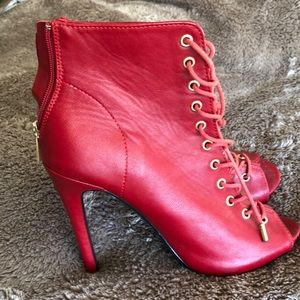 Red Stiletto Heel Booties - Red - Size 7